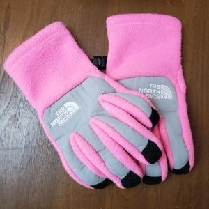 The North Face Pink and Grey Fleece Kids Gloves